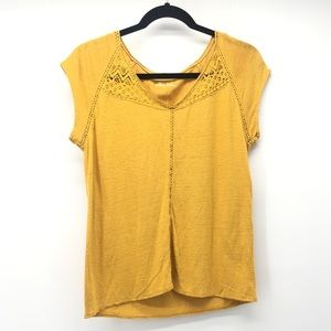 Susina Mustard Yellow Embroidered Top XS